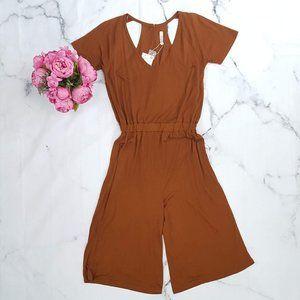 Zara, Open Back Cropped Jumpsuit, Brown, Medium